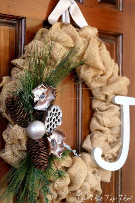 Burlap Wreath With Pinecone