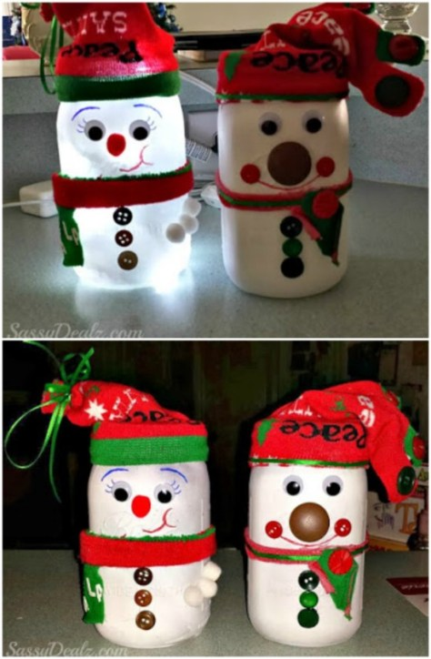 Snowman Mason Jar Lights