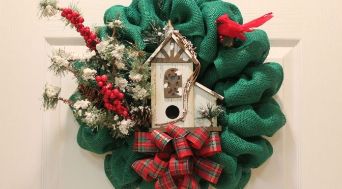 Burlap Wreath With Bird House