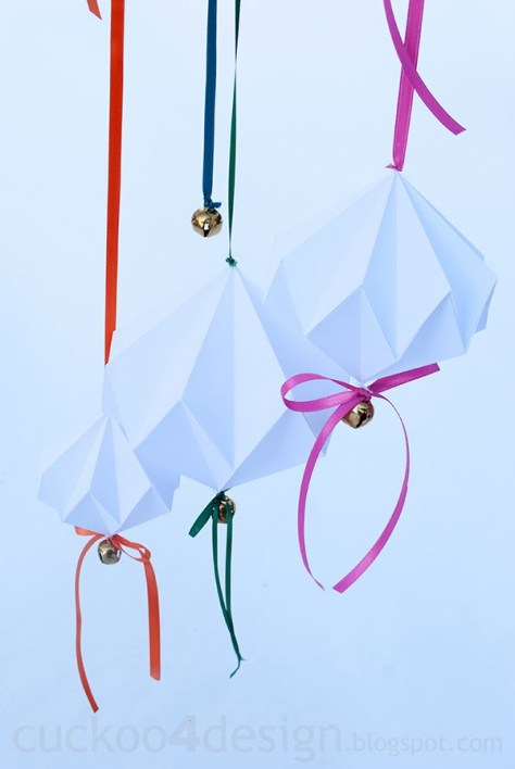 Origami Diamond Jingle Bell Ornaments