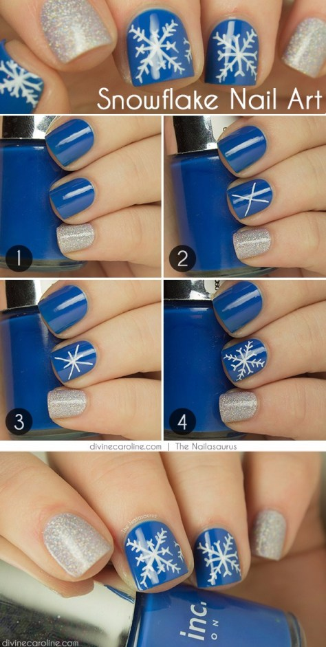 Snowflake Nails Art