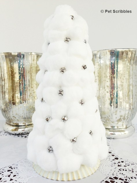 Cotton Ball and Jingle Bell Christmas Tree