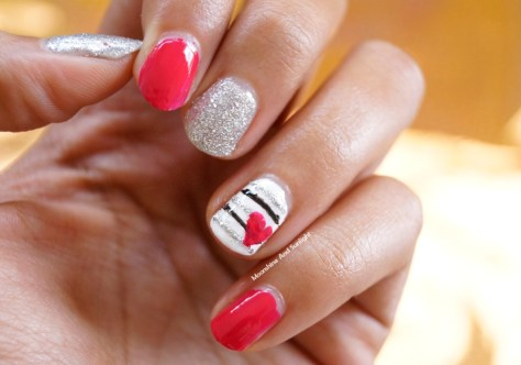 Stripes and Heart Nail