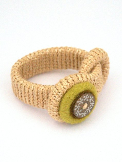 Crochet felted bracelet with button