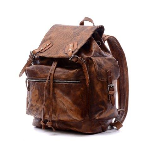 "19""Men Brown Vintage Genuine Leather Backpack"