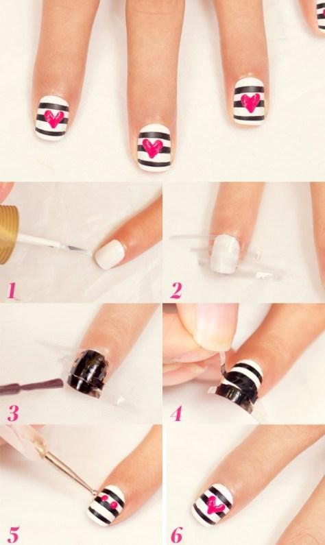 DIY Hearts and Stripes Nail Art