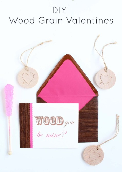 Wood Grain Valentines Cards