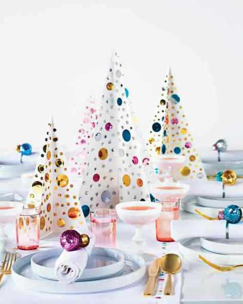 Sequined Christmas Trees Centerpiece
