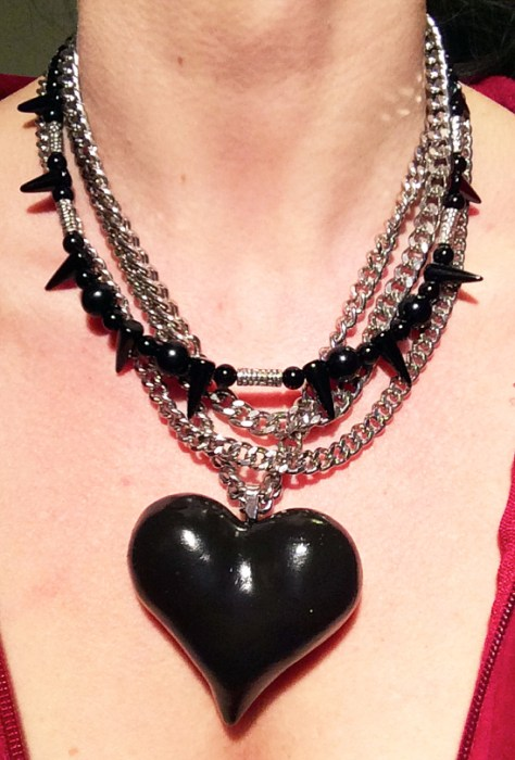 Polymer Clay Black Heart Necklace