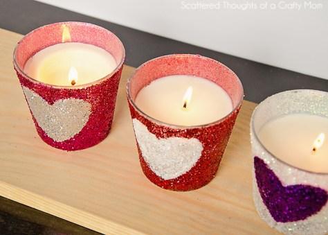 Glitter Heart Candles