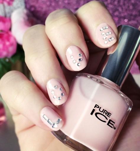 Pink & Crystal Nails