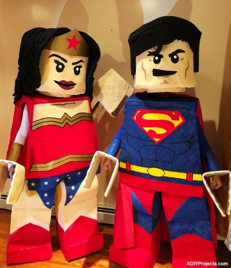 Cute LEGO Superman and Wonder Woman Couple Halloween Costumes