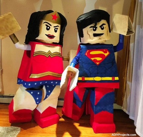 LEGO Superman and Wonder Woman Couple Costumes