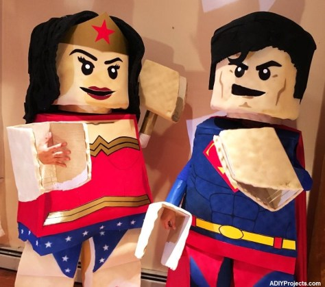 LEGO Superman and Wonder Woman Couple Halloween Costumes
