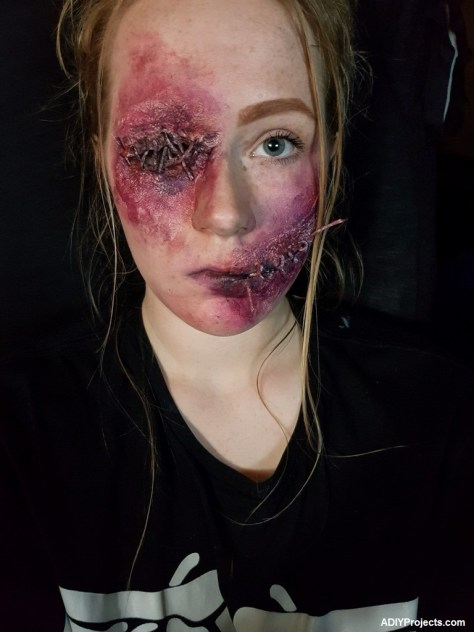 Stitched Mouth and Eye Halloween Makeup