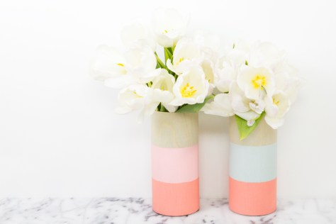 Colorblocked Wood Vases