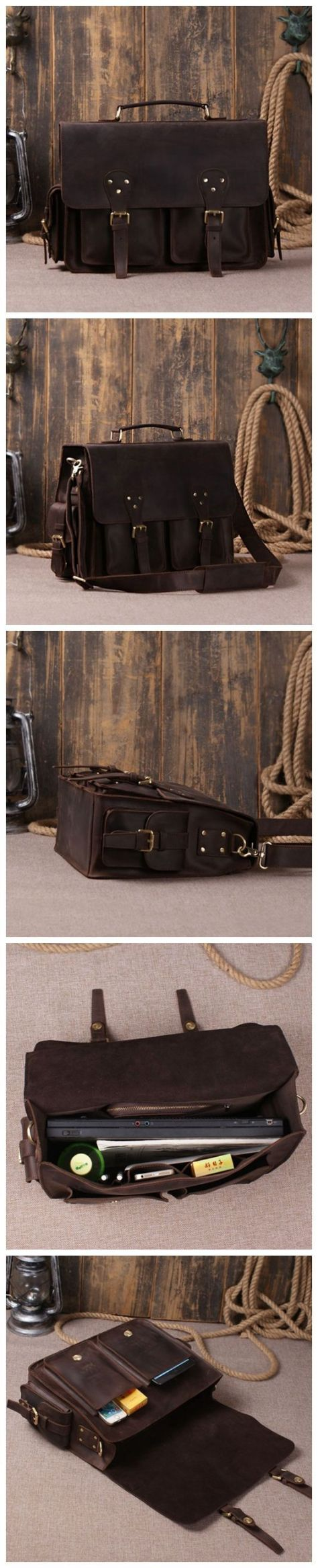 Dark Brown Designer Leather Handbag