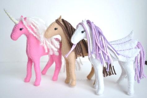 Felt Unicorn Horses