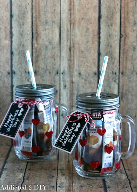 Glittered Heart Mason Jar