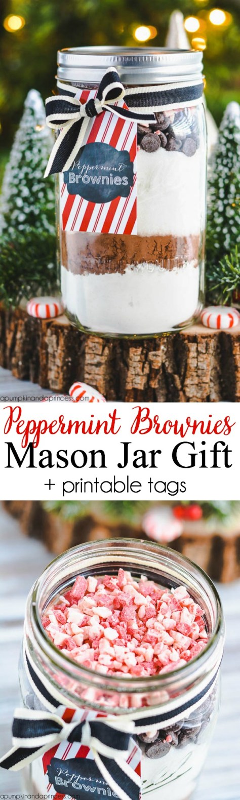 Peppermint Brownies Mason Jar Gifts Tutorial