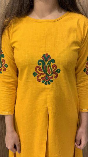 Mustard A-line Kurta