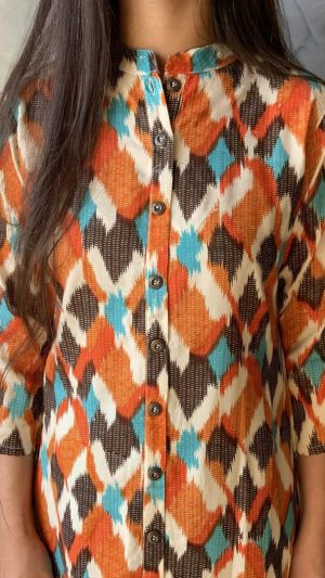 Orange Abstract Kurta