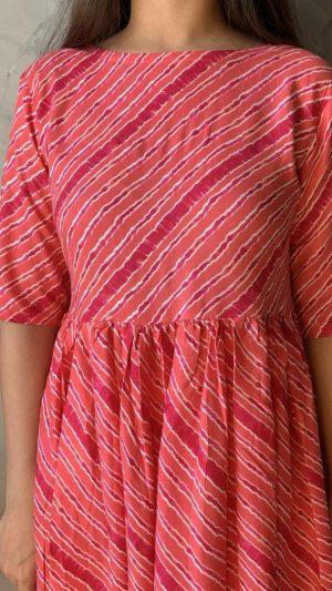 Pink Leheriya Kurta