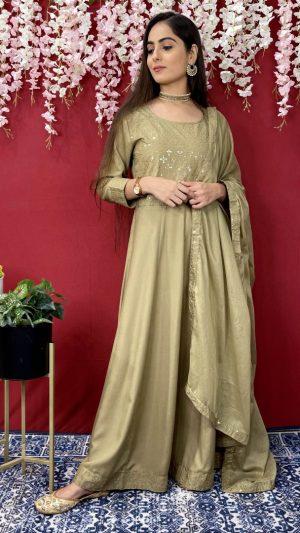 Green Anarkali Dupatta Set
