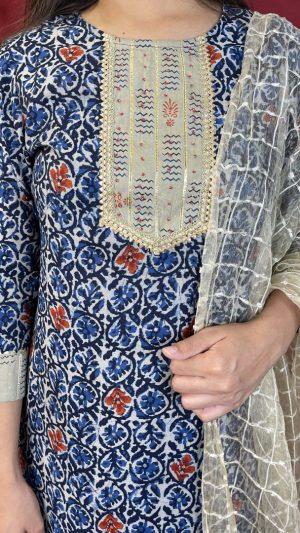 Blue Beige Muslin Suit