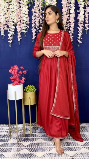 Cherry Red Anarkali Suit