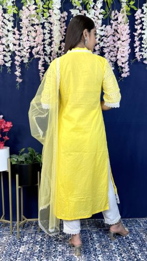 Yellow Cutwork Suit