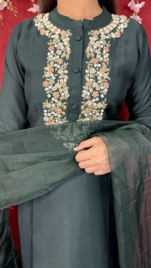 Green Hand-Embroidered Suit