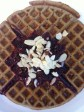 Coriander waffle,tunisian spiced blackberry compote,almonds
