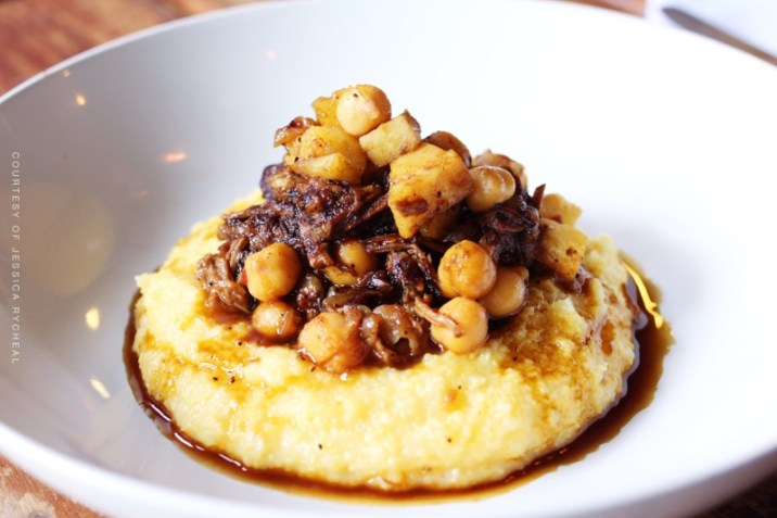 Spiced braised lamb hash with raddichio and soft polenta,date syrup