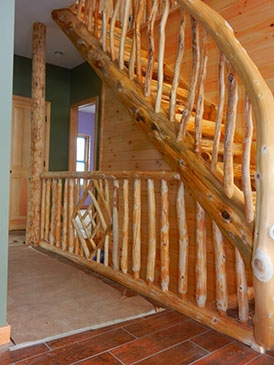 Rustic Stairs Log Railings Eddy Enterprises Inc | Rustic Handrails For Stairs | Modern | Country Style | Antique Wooden Stair | Basement | Interior