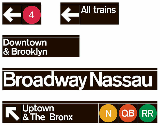 Examples of the signage that is seen the NYC Subway. Signage designed by Noorda and Vignelli. Image: New York Times