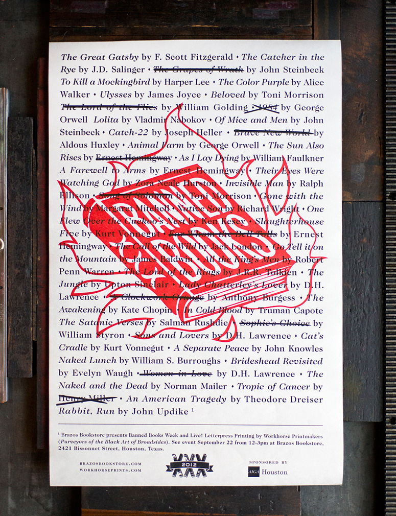brazos bookstore - banned books - 2012 poster