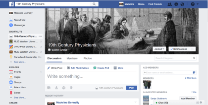 Facebook page as it looked before editing