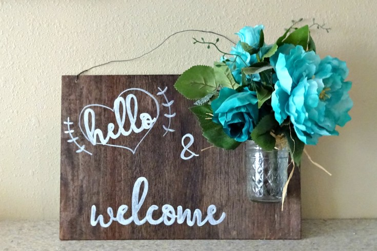 wood hello sign