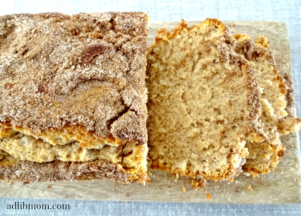 This snickerdoodle bread is loaded with cinnamon and tastes just like the cookies.