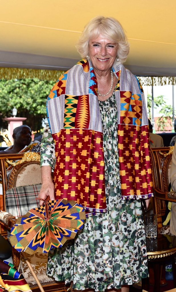 TRH were presented with gifts from the Asantehene including this Kente.