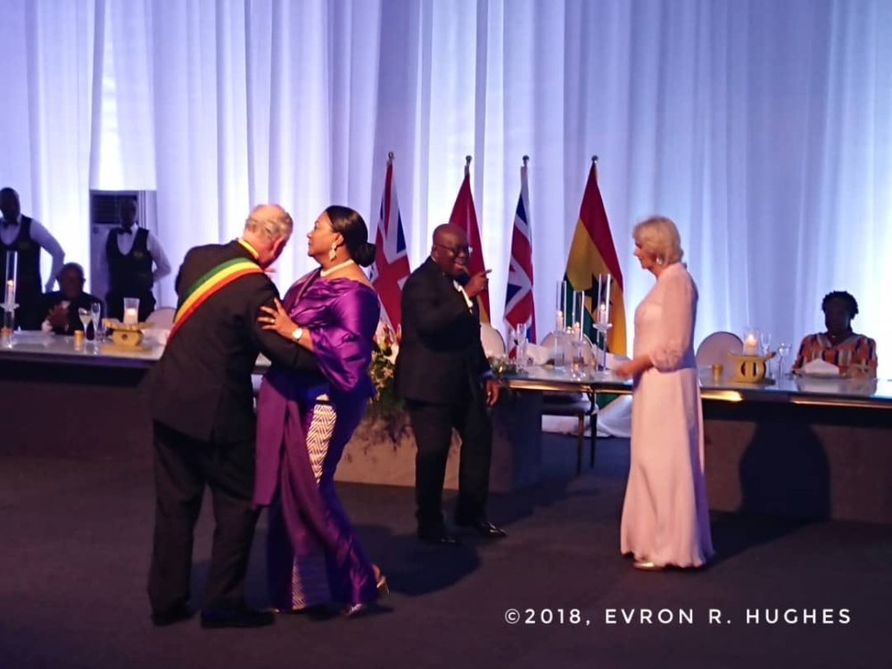 Camilla Duchess of Cornwall danced with President Akuffo Addo while the Prince of Wales danced with first lady Rebecca.