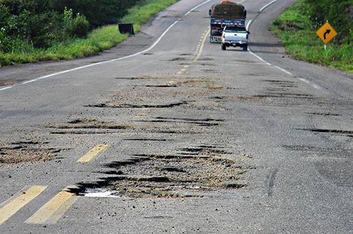 Resultado de imagem para estradas esburacadas no brasil