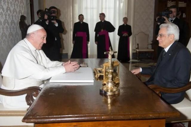 Pope Francis receives Italian President Sergio Mattarella in the Vatican's Apostolic Palace on April 18, 2015. Vatican Media.