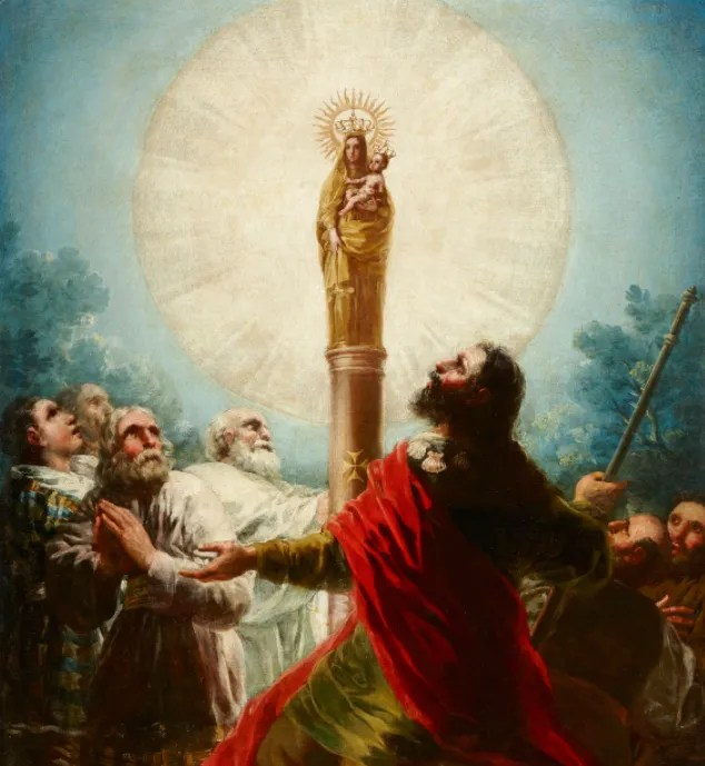 Apparition of our Lady of the Pillar by Goya. Public Domain