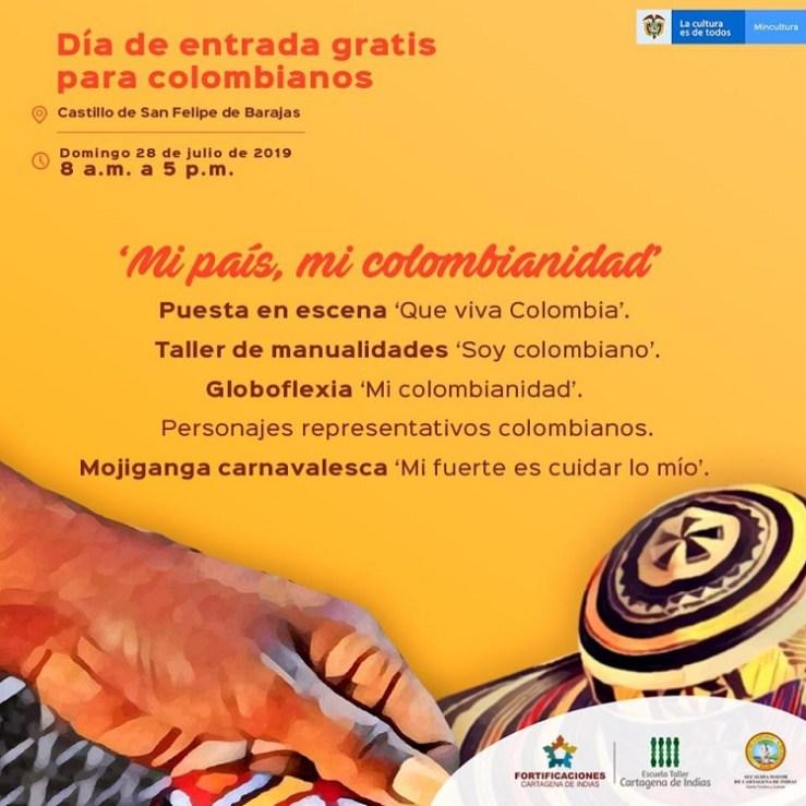 Flyer domingo de entrada gratis al Castillo de San Felipe en Cartagena