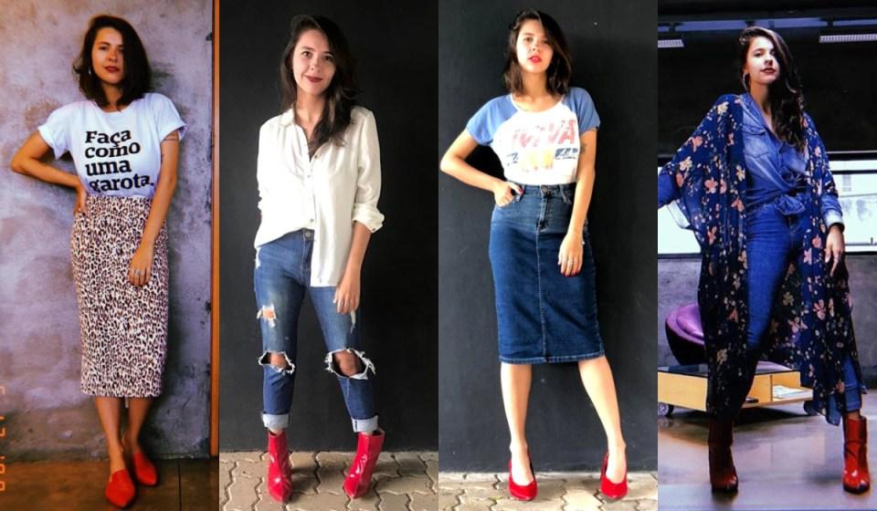 Quatro formas de usar sapato vermelho. Sapato vermelho com saia animal print e camiseta, sapato vermelho com camisa branca e jeans rasgado, scarpin vermelho com saia lápis jeans e camiseta divertida, bota vermelha com saia jeans, camisa jeans e quimono