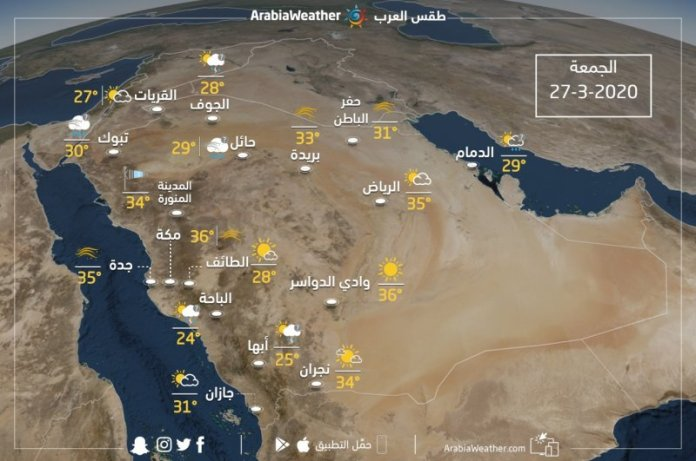 The weather and forecast temperatures in Saudi Arabia on Friday 27/3/2020