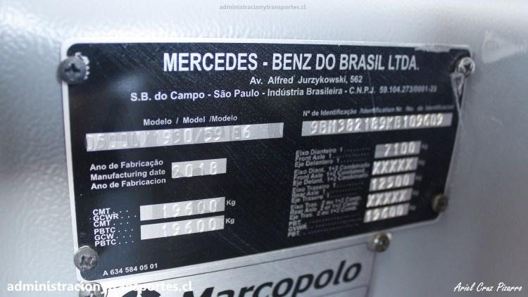 Placa Mercedes Benz O500U Euro 6 - Bus LCPG36