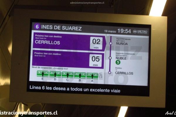 Metro de Santiago | Línea 6 ya tiene voces automatizadas y TV con tiempo de llegada
